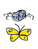 Spider and butterfly. Cartoon illustration Royalty Free Stock Photos
