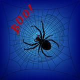 Spider on cobweb. On a dark blue background Stock Photography