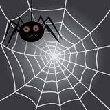 Spider in a cobweb. Halloween background. vector eps10 royalty free illustration