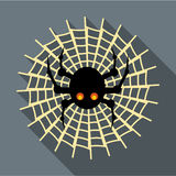 Spider on cobweb icon, flat style. Spider on cobweb icon in flat style with long shadow. Insect symbol vector illustration Stock Image
