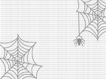 Spider and cobweb halloween. Spider and cobweb on notebook page - halloween notebook background. Vector illustration vector illustration
