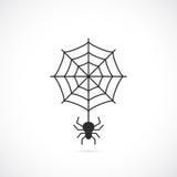 Spider and cobweb vector icon. Illustration Stock Image