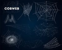 Spider cobwebs various forms isolated set royalty free illustration