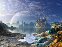 Spider Creature on Shores of Alien Sea. An iridescent coloured alien landscape with two planets in orbit above.  A tiny spider creature waits on the beach Royalty Free Stock Image