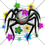 Spider Cute Wink Emoji Face Character royalty free illustration