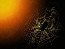 Spider on dark background. Spiderweb and big spider on dark background Royalty Free Stock Photo