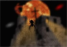Spider and the fairy tale. A little Horror Graphics. Picture Stock Image