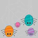 Spider Family Weaving Web. Illustration fat cartoon spider family weaving like a flower web Royalty Free Stock Image