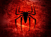 Spider fear. Bloodsucker spider illustration. Spider silhouette background. Fear and spider stock illustration