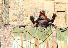 Spider with fork. On his net - theatre play 'Spider and Princess' at 'Conquest of water castle Svihov' (Czech Republic, the 5th of Jule 2015 Royalty Free Stock Photo