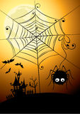 Spider and the full moon Royalty Free Stock Image