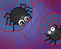 Spider funny. Illustration of two spiders on their net Royalty Free Stock Images