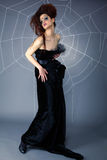 Spider girl and web Royalty Free Stock Images