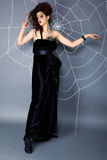 Spider girl and web Stock Photography