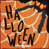 Spider with Greeting Message of Halloween Trapped in its Cobweb, Vector Illustration Royalty Free Stock Photo