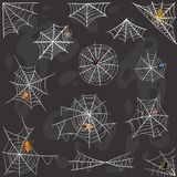 Spider Halloween celebration decoration web silhouette vector set Royalty Free Stock Photo