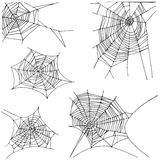 Spider hand drawn net set. Isolated on white background Stock Photos