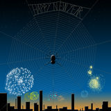 Spider happy new year. Spider says happy new year above the night sky Stock Photos