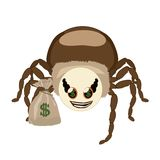 Spider Hauk and bag with dollars Royalty Free Stock Photos
