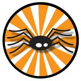 Spider icon with orange rays. Illustrated black spider with orange rays in a circle icon royalty free illustration