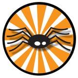 Spider icon with orange rays. Illustrated black spider with orange rays in a circle icon Stock Photo