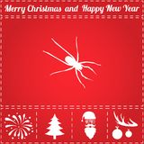 Spider Icon Vector. And bonus symbol for New Year - Santa Claus, Christmas Tree, Firework, Balls on deer antlers Royalty Free Stock Photography