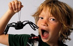 Spider Kid. Expressive kid mugging with a toy spider Royalty Free Stock Image