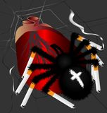 Spider-killer smokers. In the web of human heart on it with the spider legs in the form of cigarettes Royalty Free Stock Photography