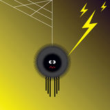 Spider and lightning. Illustration of spider shocked by lightning Stock Image