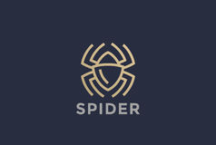 Spider Logo design vector Linear. Dangerous Poison Royalty Free Stock Photo