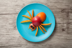 Spider made of juicy fruits Royalty Free Stock Photography