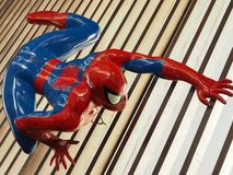 Spider-Man Climbing On The Ceiling Stock Photo