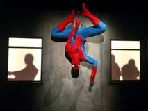 Spider-Man hänga som är uppochnervänt på den MoPOP utställningen i Seattle arkivbilder