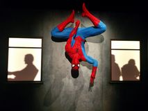 Free Spider-Man Hanging Upside Down At MoPOP Exhibit In Seattle Stock Images - 125566324