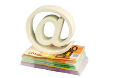 Spider monkey and bills Stock Image