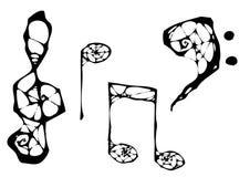Spider music symbols. 4 spider music symbols in vectors Royalty Free Stock Photo