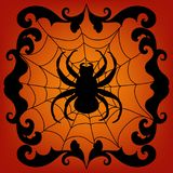 Spider  on net  black  silhouette Halloween Decal Stock Photo