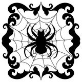 Spider  on net  black  silhouette Halloween Decal Royalty Free Stock Photo