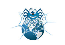 Spider on the planet. Spider with network on the planet stock illustration