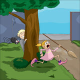 Spider prank. Boy and girl spider prank Royalty Free Stock Photo