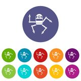 Spider robot set icons Stock Photography