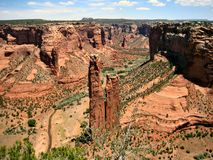 Spider Rock, Canyon De Chelly. Spider Rock rises 800 feet from the canyon floor in Canyon de Chelly on the Navajo reservation in Arizona Stock Image