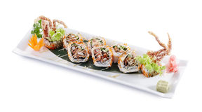 Spider roll maki. Delicious spider roll maki isolated on white background royalty free stock photo