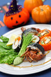 Spider roll sushi. Spider roll, maki sushi made of soft shell crab tempura and sushi rice, halloween party dinner stock images