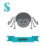 Spider. S letter. Cute children animal alphabet in vector. Funny Stock Photos
