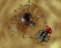 Spider with it's prey. Hungry little spider caught a fat tasty fly to eat. Digital art Stock Images
