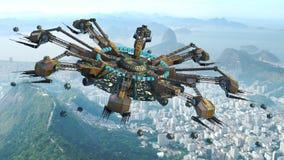 Spider shaped UFO above Rio De Janeiro Stock Images