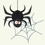 Spider silhouette arachnid fear graphic flat scary animal poisonous design nature phobia insect danger horror tarantula. Halloween vector icon. Creepy warning vector illustration