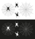 Spider silhouette and a spider web illustration royalty free stock images