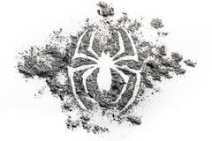 Spider silhouette symbol drawing made in ash, dirt, dust as s su. Spider silhouette symbol drawing made in grey ash, dirt, dust as s superhero, phobia, animal Royalty Free Stock Image